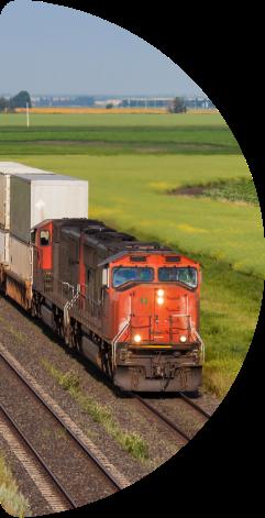 Train going through the plains