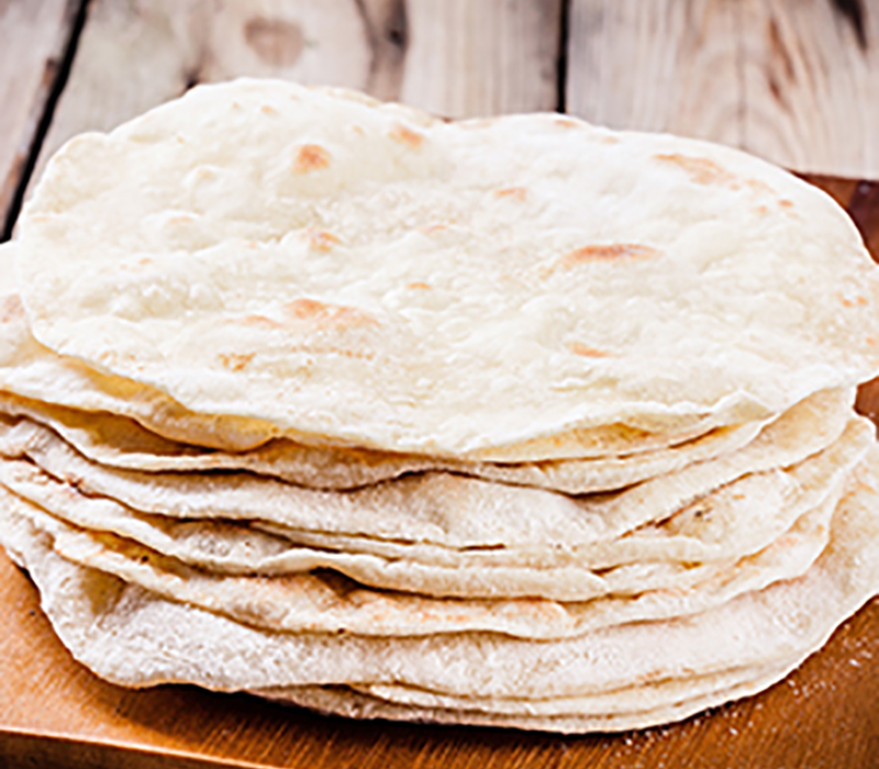 Tortilla shells that use pea starch as an ingredient.