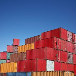 Stacked shipping containers